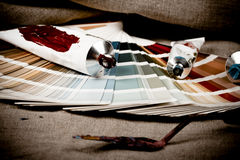 Artistic equipment and color chart Royalty Free Stock Photography
