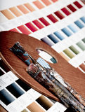 Artistic equipment and color chart Royalty Free Stock Photo