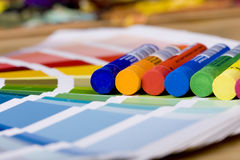 Artistic equipment and color chart Stock Photos