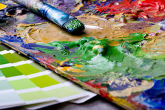 Artistic equipment and color chart Royalty Free Stock Image