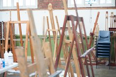 Artistic equipment: empty artist easels stock photography