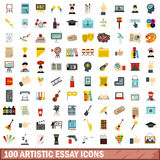 100 artistic essay icons set, flat style. 100 artistic essay icons set in flat style for any design vector illustration Royalty Free Stock Photo