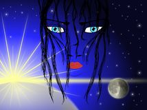 Artistic face of woman on planetary background Stock Image