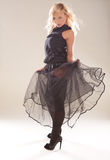 Artistic Fashion Model In Black Royalty Free Stock Photography