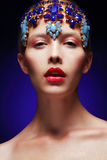 Artistic Female with Decoration - Diadem with Jewels Royalty Free Stock Photo