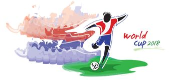 Artistic figurative soccer character and watercolor feeling. Royalty Free Stock Photo