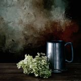 Dried hydrangea flowers and old pewter tankard. Still life. Artistic filtered still life image Royalty Free Stock Images