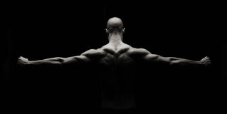 Artistic Fitness. Low key artistic strong man on a black background