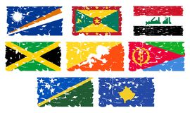Artistic flags of the world. A set of flags of the world made in an artistic version. The flags represented are: Bhutan, Eritrea, Jamaica, Grenada, Iraq Royalty Free Stock Image