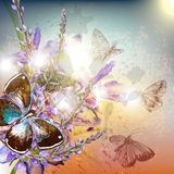 Artistic floral background with flowers and butterflies Royalty Free Stock Photos
