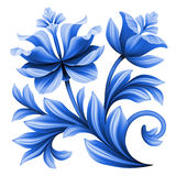 Artistic floral element, abstract folk art, blue flowers illustration Royalty Free Stock Images