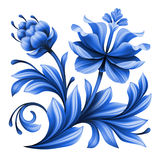 Artistic floral element, abstract gzhel folk art, blue flowers Stock Photos
