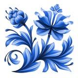 Artistic floral element, abstract gzhel folk art, blue flowers Stock Photos
