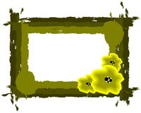 Artistic Floral frame in green tones isolated Stock Image