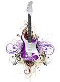 Artistic floral guitar. An abstract illustration of an electrical guitar surrounded by floral designs on a white background Stock Image