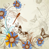 Artistic floral hand drawn background Stock Image