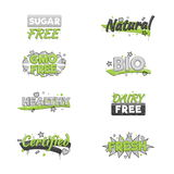 Artistic food and drink quality badges. Royalty Free Stock Photography