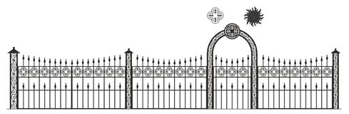 Artistic forging, black, geometric pattern, national pattern. Ornamental wrought iron, fencing on white isolated background, аrtistic forging, black vector illustration