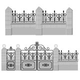Artistic forging 4. Metal wrought-iron gates, gate and fence with round lamps and stone and brickwork. Artistic forging Royalty Free Stock Photography
