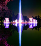 Artistic fountain at night Royalty Free Stock Photos