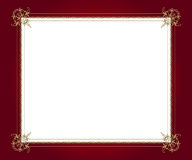 Artistic frame. Artistic golden frame on red background with white copy space Royalty Free Stock Image