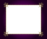Artistic frame. Artistic golden frame on purple background with white copy space Royalty Free Stock Image