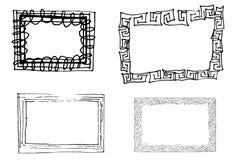 Artistic frames. Hand drawn artistic frames black and white Stock Photo