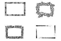 Artistic frames. Hand drawn artistic frames black and white Royalty Free Stock Photography