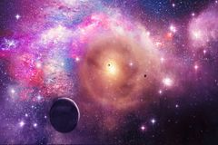 Artistic Galaxy, Planets, Stars In a Nebula Galaxy - Elements of this Image Furnished by NASA vector illustration