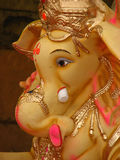 Artistic Ganesha. A closeup view of the portrait of an artistic Lord Ganesha idol in India Stock Image