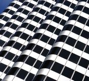 Artistic geometric design. Building exterior- Architecture abstract that forms crosswalk or zebra pattern stock photos
