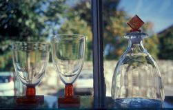 Artistic glass manufacture in Bornholm, Denmark. Beautiful and elegant examples of modern fine hand made art glass manufacturing in the island of Bornholm stock photos