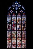 Artistic glass window. Colorful glass window in the Cathedral of Koln (Cologne), Germany Royalty Free Stock Photos