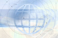 Artistic global background. An illustrated view of a bluish background with various precise drawings and an abstract world globe in the center Royalty Free Stock Images