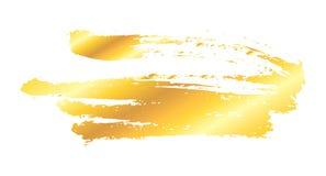 Artistic golden paint stroke. Artistic grunge golden brush paint stroke isolated over white background. Metal shiny gold design element vector illustration Royalty Free Stock Photography