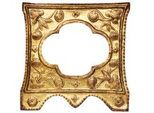Artistic Golden Picture Fame w/ Path. Small ornamented empty picture frame. File contains clipping path Stock Photos