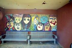 Artistic graffiti beach shelter Stock Photography