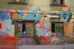 Artistic graffiti building Royalty Free Stock Photo