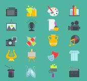 Artistic creator graphic designer icons set flat design illustration. Camera, picture, brush palette entertainment. Artistic graphic creator designer icons set vector illustration