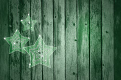 Artistic green wooden background Xmas decoration. Artistic green wood textured background with illustrated glass effect Christmas and New Year Holiday decoration Stock Photography