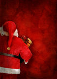 Artistic greeting card or poster design with Santa Claus doll Stock Image