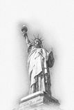 Artistic greyscale image of Statue of Liberty Royalty Free Stock Photo