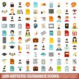 100 artistic guidance icons set, flat style. 100 artistic guidance icons set in flat style for any design vector illustration Vector Illustration