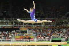 Artistic gymnast Aliya Mustafina of Russian Federation competes on the balance beam at women`s all-around gymnastics at Rio 2016. RIO DE JANEIRO, BRAZIL - AUGUST Stock Photo