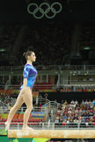 Artistic gymnast Aliya Mustafina of Russian Federation competes on the balance beam at women`s all-around gymnastics at Rio 2016 Royalty Free Stock Photo