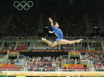 Artistic gymnast Seda Tutkhalyan of Russian Federation competes on the balance beam at women`s all-around gymnastics at Rio 2016 Stock Photos