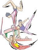Artistic gymnastics. Balance beam, Pommel horse, Rings. Set of color vector illustrations Stock Images