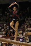 Artistic Gymnastics. Catalina Ponor, Romanian artistic gymnast, performs exercise in the balance beam final of the Romanian artistic gymnastics championship Stock Photos