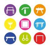 Artistic gymnastics equipment. Colorful icon set with artistic gymnastics equipment royalty free illustration
