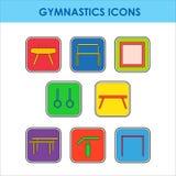 Artistic gymnastics equipment. Colorful icon set with artistic gymnastics equipment vector illustration
